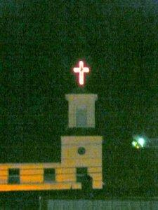 Red Cross on top of Wrangell Presbyterian Church